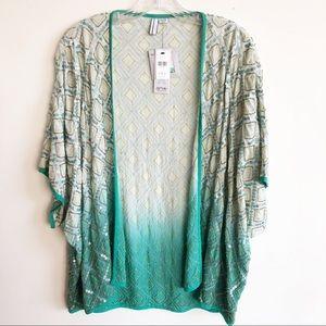 Anthropologie Blank Green Ombré Sequin Kimono S/M